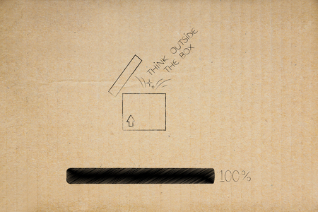 think outside the box conceptual illustration: open parcel with caption flying out and progress bar at 100 per cent
