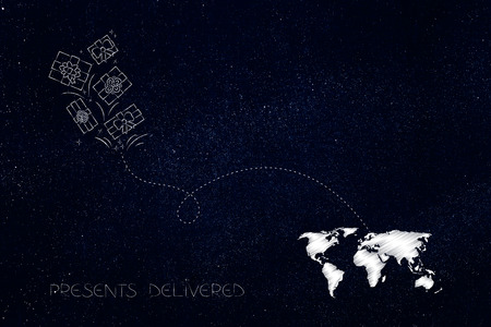 worldwide delivery concept: presents with dashed line route to destination on world map Stock Photo