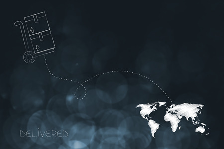 worldwide delivery concept: parcels on cart with dashed line route to destination on world map