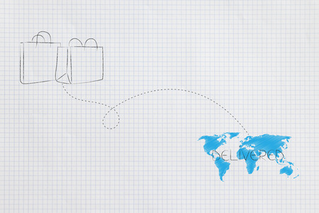 worldwide delivery concept: shopping bags with dashed line route to destination on world map Stock Photo
