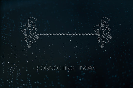 connecting ideas or skill sharing conceptual illustration:  group of light bulbs linked to each other by chain