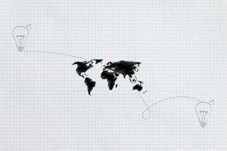 connecting ideas across the globe conceptual illustration: world map linked by dashed lines to 2 distant lightbulbs Stockfoto