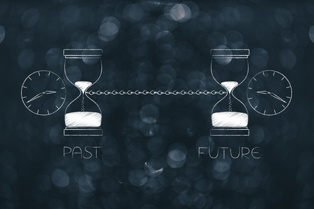 time passing by conceptual illustration: past and future linked with a chain with hourlgass and clock icons