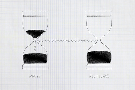 time passing by conceptual illustration: past and future linked with a chain with hourglass before after Stock Photo