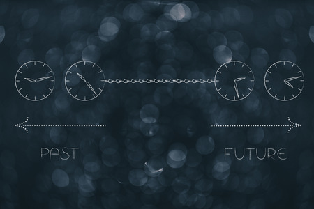 time passing by conceptual illustration: past and future linked with a chain with clocks and timeline arrows