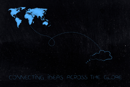 connecting ideas across the globe conceptual illustration: world map linked by dashed line to thought bubble Stock Photo