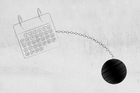 time constraints conceptual illustration: calendar with ball and chain