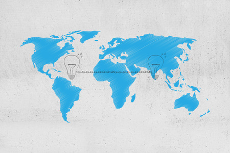 connecting ideas across the globe conceptual illustration: light bulbs linked to each other by chain and world map overlay