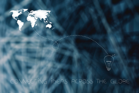 connecting ideas across the globe conceptual illustration: world map linked by dashed line to light bulb