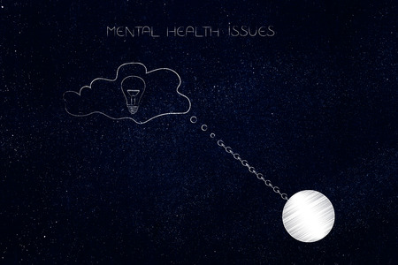 mental health issues conceptual illustration: thought bubble with idea or opinion stuck by ball and chain symbol of emotional burden Stock Photo
