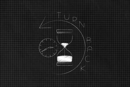 time passing by conceptual illustration: hourglass and clock with reverse arrow and turn back time caption