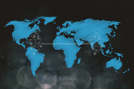 connecting ideas across the globe conceptual illustration: group of light bulbs linked to each other by chain and world map overlay Stock Photo