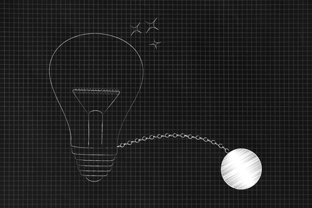 set your mind free conceptual illustraion: light bulb with ball and chain