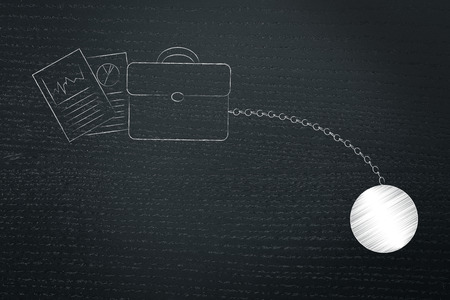 office duty conceptual illustration: business bag and documents with ball and chain Stock Photo