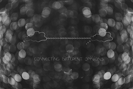 connecting ideas or skill sharing conceptual illustration: thought bubbles linked to each other by chain Stock Photo