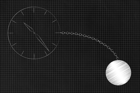 time constraints conceptual illustration: clock with ball and chain
