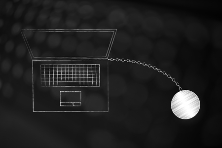 office duty conceptual illustration: laptop with ball and chain