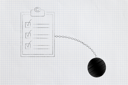 time constraints conceptual illustration:  to do list with ball and chain Stockfoto