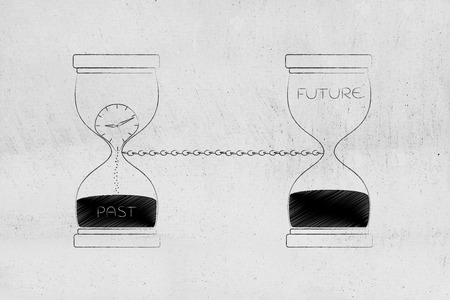 time passing by conceptual illustration: past and future linked with a chain with hourglass and clock melting away Stock Photo