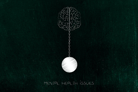 mental health issues conceptual illustration: brain with ball and chain symbol of emotional burden