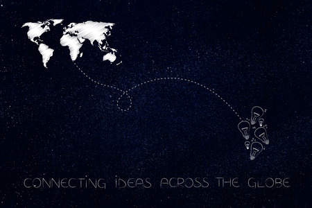 connecting ideas across the globe conceptual illustration: world map linked by dashed line to group of lightbulbs