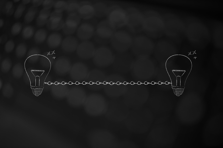 connecting ideas or skill sharing conceptual illustration: light bulbs linked to each other by chain