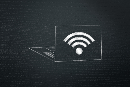 information technology conceptual illustration: laptop with wifi icon on the back of the screen