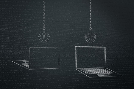 information technology conceptual illustration: laptops back and front with anchor link icons above them