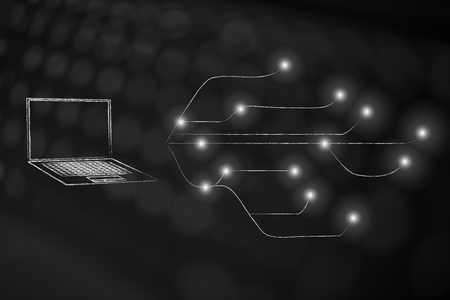 information technology conceptual illustration: laptop next to network with led lights on