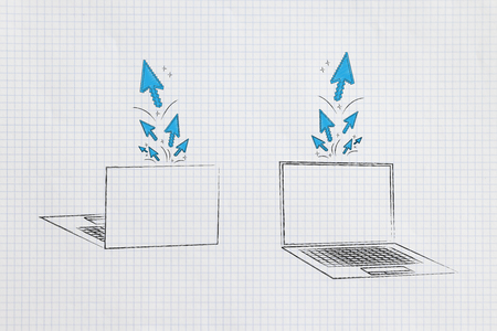 information technology conceptual illustration: laptops front and back with stream of clicks and cursors popping out of the screens