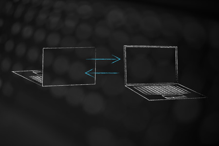 information technology conceptual illustration: laptops front and back with arrows back and forth