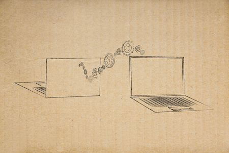 information technology conceptual illustration: laptop front and back view with wave of gearwheels moving from one to the other