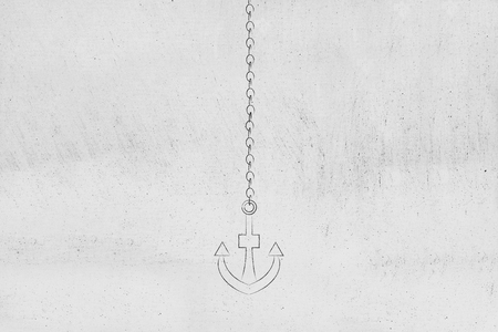 anchor and chain minimalistic chalk outline vertical icon