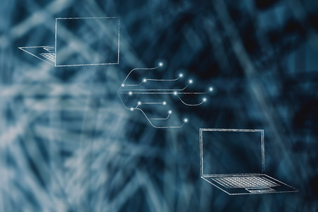 information technology conceptual illustration: laptops front and back with network with led lights on Stock Photo