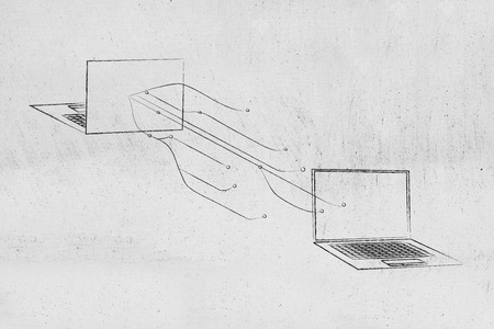 information technology conceptual illustration: laptops facing each other with network lines connecting them