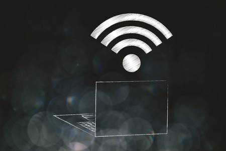 information technology conceptual illustration: laptop with wifi logo above the screen