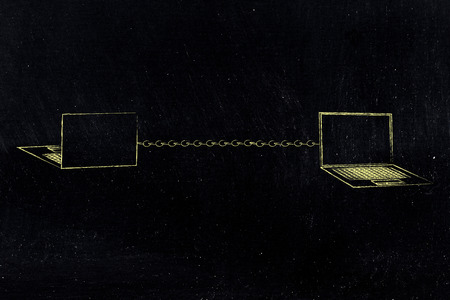 information technology conceptual illustration: laptops front and back with chain connecting them