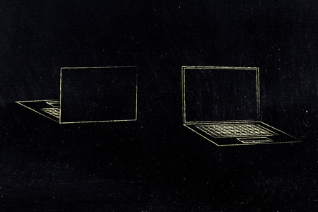information technology conceptual illustration: laptops front and back view with empty screen