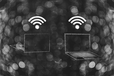 information technology conceptual illustration: laptop front and back view with wifi above the screen Stock Photo