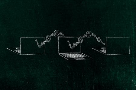 information technology conceptual illustration: group of 3 laptops front and back view with wave of gearwheels moving from one to the other