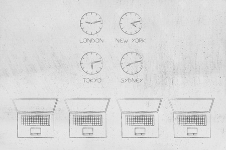 technology devices illustration: group of 4 laptops and clocks with different time zones in square layout