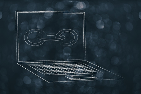 technology devices illustration: laptop with link chain icon on the screen