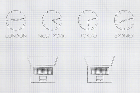 technology devices illustration: laptops and clocks with different time zones above Stock Photo