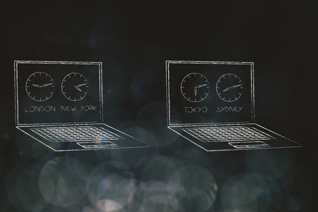 technology and global business illustration: laptops with clocks on their screens with different time zones
