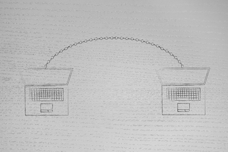 technology devices illustration: laptops connected to each other with a chain