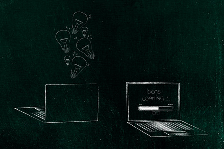 technology devices illustration: laptops front and back with light bulbs popping out of it and message Ideas loading on the screen next to it
