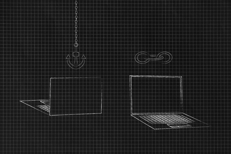 technology devices illustration: laptops front and back with link and anchor icons above them metaphor of web functions