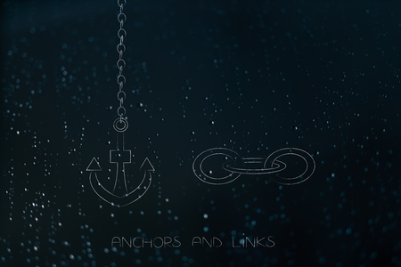 technology metaphor illustration: anchor and lnk icons metaphor of internet functions