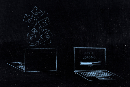 technology devices illustration: laptops front and back with emails popping out of it and message Inbox loading on the screen next to it