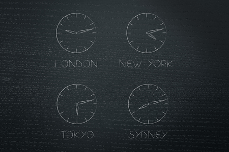 global business and travel  illustration: clocks with time zones of different big cities across the world Stock Photo
